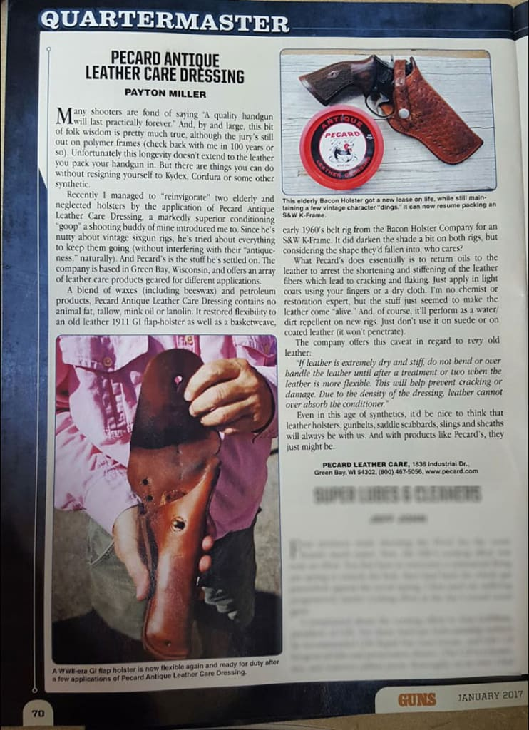 Quartermaster Magazine Article on Pecard Leather Care
